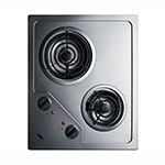 "Summit CR2B122 2-Burner Electric Cooktop - 20"" x 16"", Stainless, 115v"