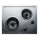 """Summit CR2B122 2-Burner Electric Cooktop - 20"""" x 16"""", Stainless, 115v"""