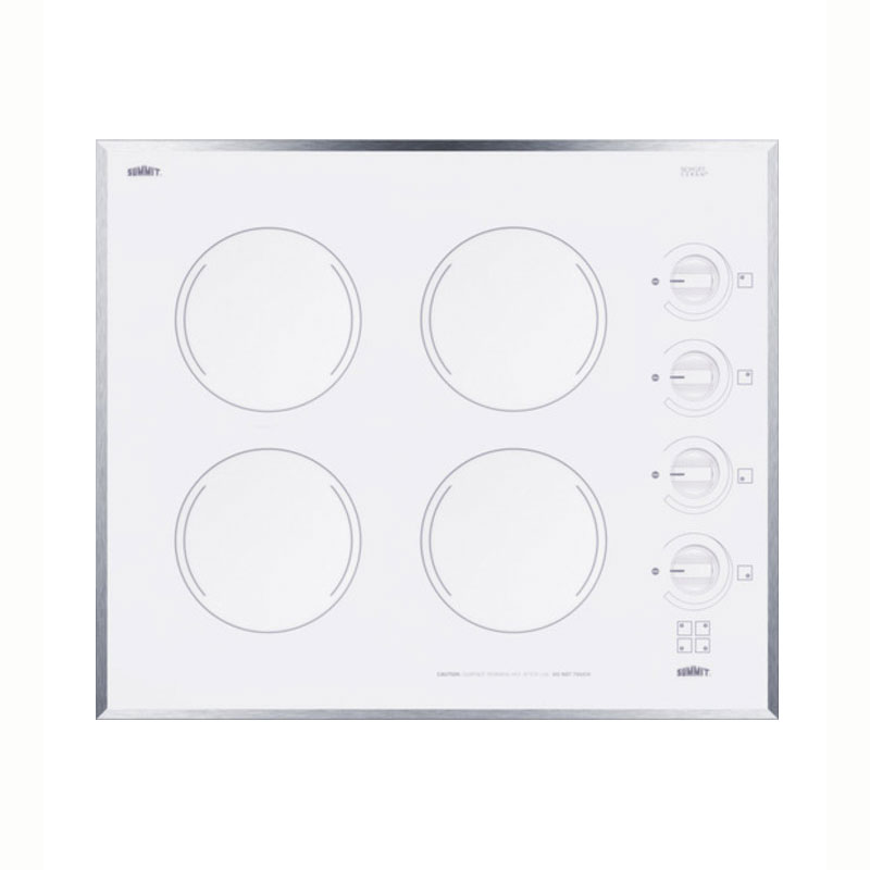 "Summit CR424WH 22"" Ceramic Cooktop w/ 4-Burners, White, 220v/1ph"