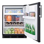 "Summit CT663B 24"" Refrigerator Freezer w/ Cycle Defrost, 5.1 cu ft, Black, 115v"