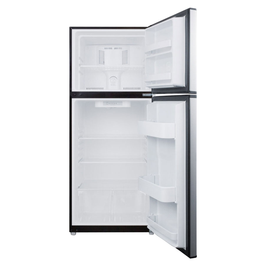 """Summit FF1387SS 24"""" Refrigerator Freezer w/ Door Storage, Black/Stainless, 11.5-cu ft"""