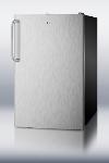Summit Refrigeration FF521BLBISSTB Built In Refrigerator, Towel Bar, Lock, 4.1-cu ft, Black/Stainless