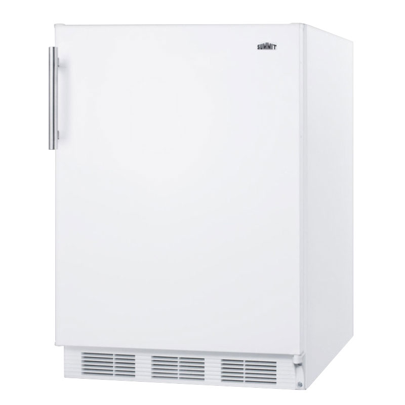 "Summit FF61 24"" Undercounter Refrigerator w/ Automatic Defrost, 5.5-cu ft, White"