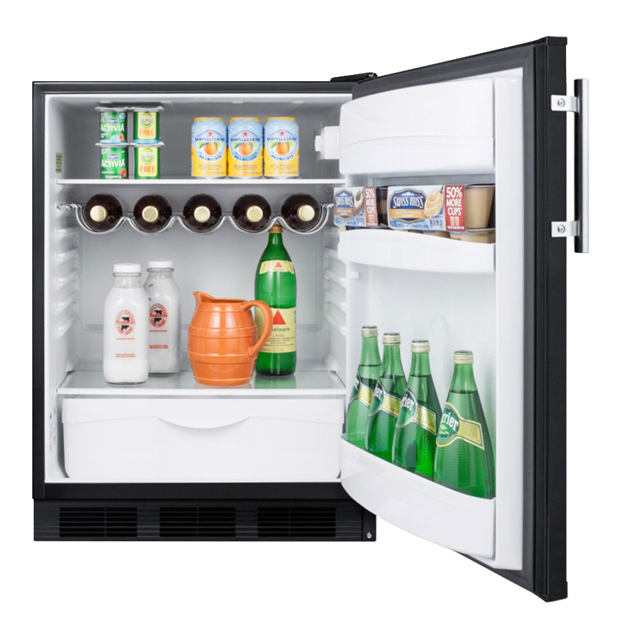 "Summit FF63B 24"" Undercounter Refrigerator w/ Automatic Defrost, 5.5-cu ft, Black"