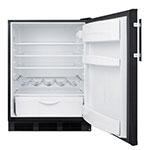 "Summit FF63BBI 24"" Undercounter Built-In Refrigerator w/ Automatic Defrost, 5.5-cu ft, Black"