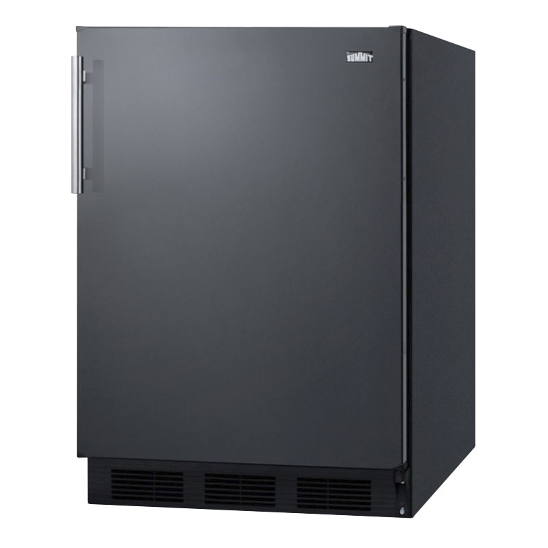 "Summit FF63BBI 24"" Undercounter Built-In Refrigerator w/ Automatic Defrost, 5.5-cu ft, Black"