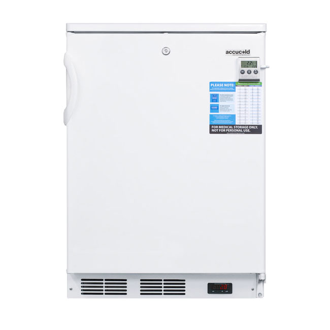 Summit Refrigeration FF7LBIMED Undercounter Refrigerator White Cabinet & Reversible Door Wire Shelves 5.5 Restaurant Supply