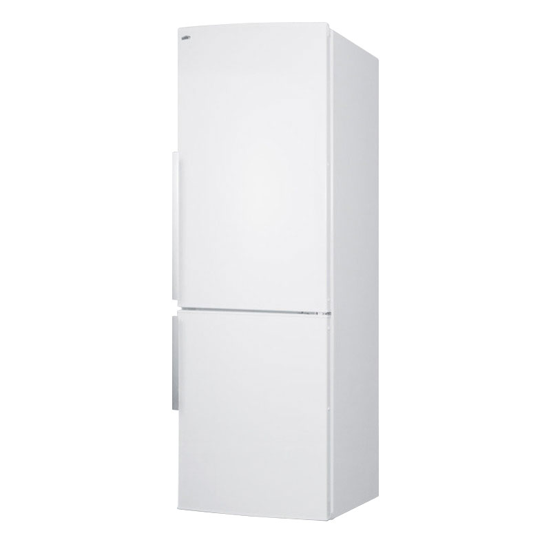 "Summit FFBF240WX 24"" Bottom Freezer Refrigerator w/ Wine Shelf & 2-Crispers, White, 9.85-cu ft"