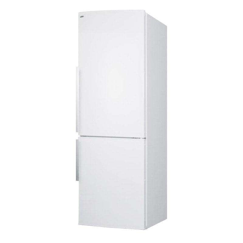 Summit FFBF240WX 24-in Bottom Freezer Refrigerator w/ Wine Shelf & 2-Crispers, White, 9.85-cu ft