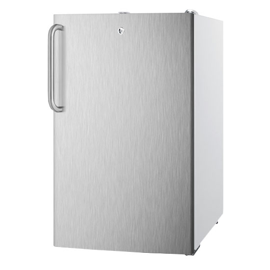 Summit Refrigeration FS407LBISSTB Built In Freezer w/ Towel Bar & Lock, 2.8-cu ft, White/Stainless