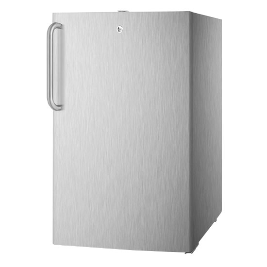 Summit Refrigeration FS407LCSS Built In Freezer w/ Towel Bar, Lock, 2.8-cu ft, Stainless On White