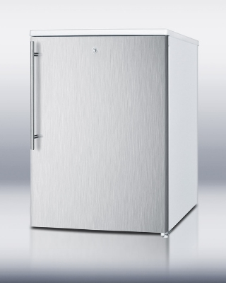 Summit Refrigeration FSM50LESSSHV Freezer w/ Manual Defrost, 2-Wire Shelves & Lock, White/Stainless, 4.4-cu ft