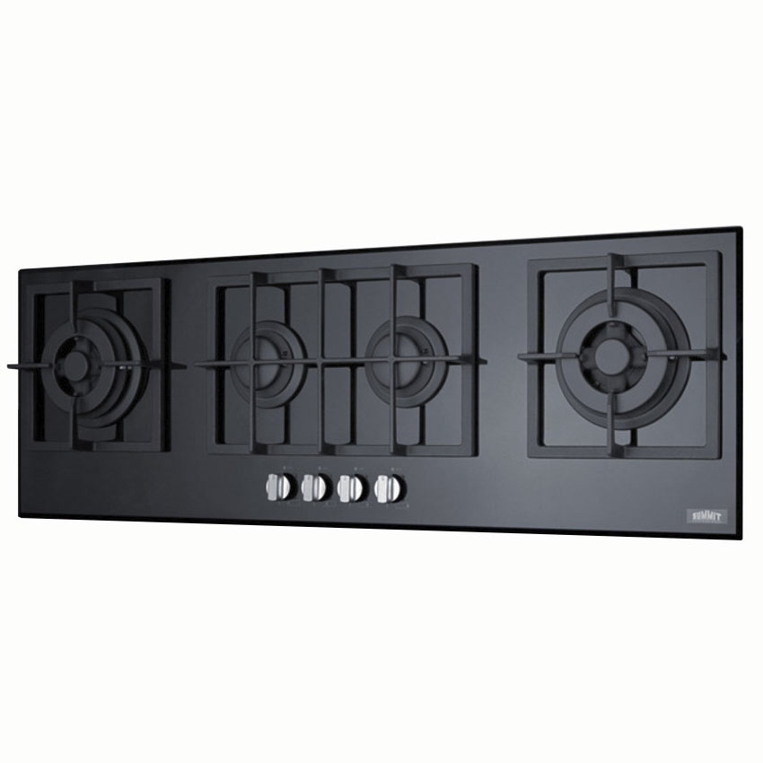 "Summit GC443BGL Gas-on-Glass Cook Top w/ 4-Sealed Burners, 41.63x13.5"", Black"