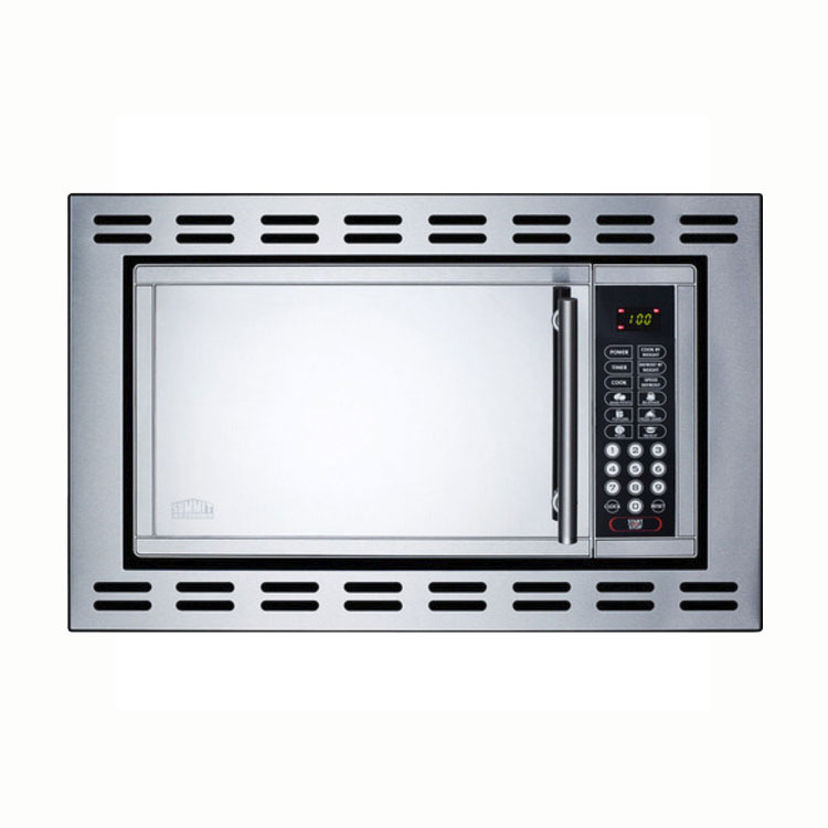 Summit OTR24 Built In Microwave Oven w/ Touchpad Controls & Digital Clock, Mirror/Stainless, .9-cu ft
