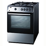 Summit Refrigeration PRO24G 24-in Deluxe Range w/ 4-Burners & Electronic Ignition, 2-Slide Out Racks, Light