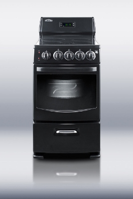 Summit REX204BL 20-in Range w/ 4-Zones, Digital Clock, Lower Storage & Oven Window, Jet Black