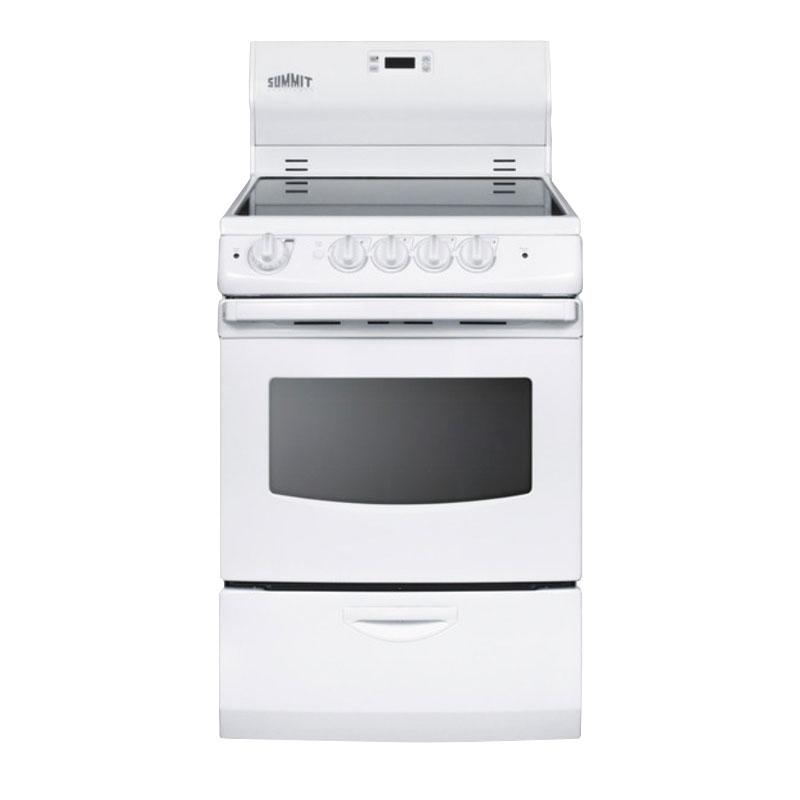 "Summit REX242W 24"" Electric Range with Ceramic Cooktop, 220v"