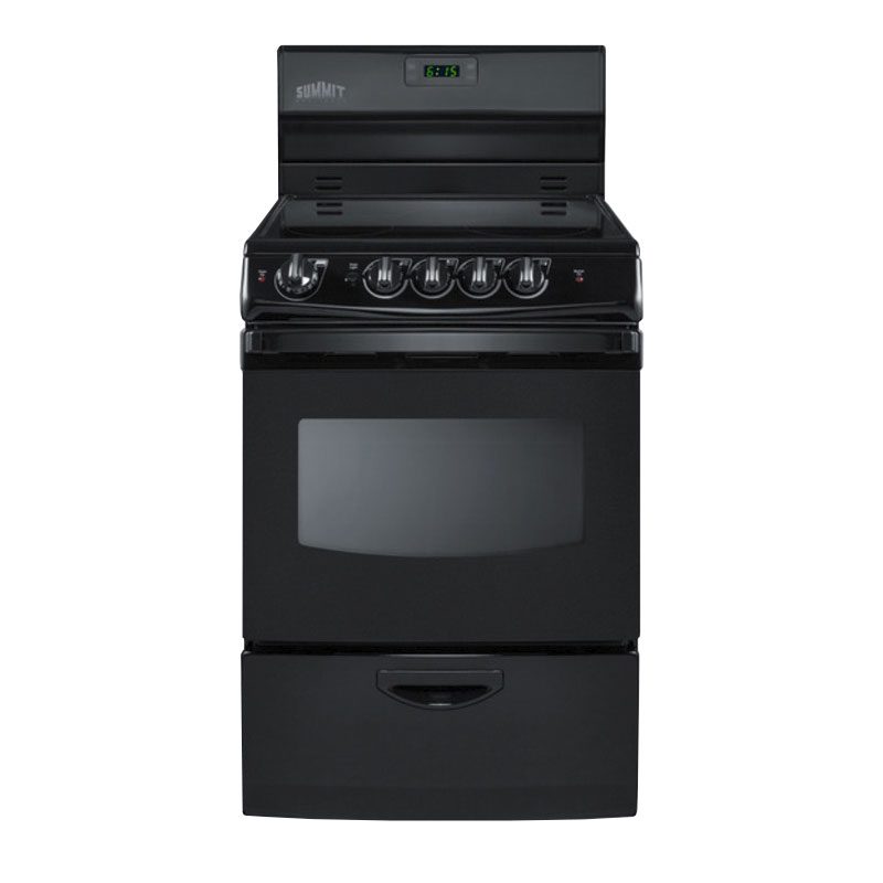 "Summit REX243B 24"" Electric Range w/ Ceramic Cooktop, Digital Timer, 220v"