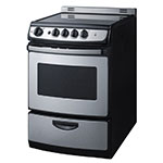 "Summit REX245SSRT 24"" Electric Range w/ Ceramic Cooktop, Stainless"