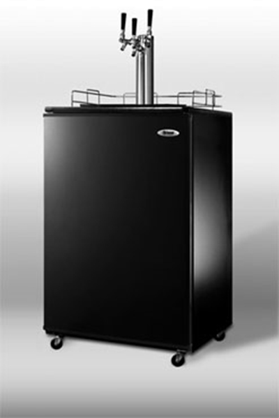 Summit Refrigeration SBC4907TRIPLE Beer Dispenser Converts Black Self-Contained Triple Tap 23 3/4in 1 Keg Restaurant Supply