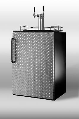 Summit Refrigeration SBC490BIDPLTWIN Built In Beer Dispenser w/ Diamond Plated Door & 2-Taps Restaurant Supply