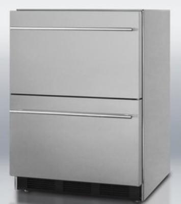 Summit SCFF55IM2D 2 Drawer Freezer 24 in W Frost Free Ice Make Restaurant Supply