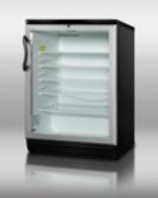 Summit Refrigeration SCR600BLBIHH Beverage Merchandiser Black Reversible Glass Door Interior Light/Liner 5.5 Restaurant Supply