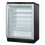 "Summit SCR600BLSH 24"" Countertop Refrigerator w/ Front Access - Swing Door, Black, 115v"