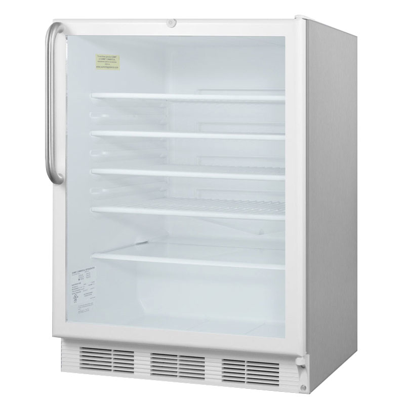 """Summit SCR600LCSS 24"""" Countertop Refrigerator w/ Front Access - Swing Door, Stainless, 115v"""