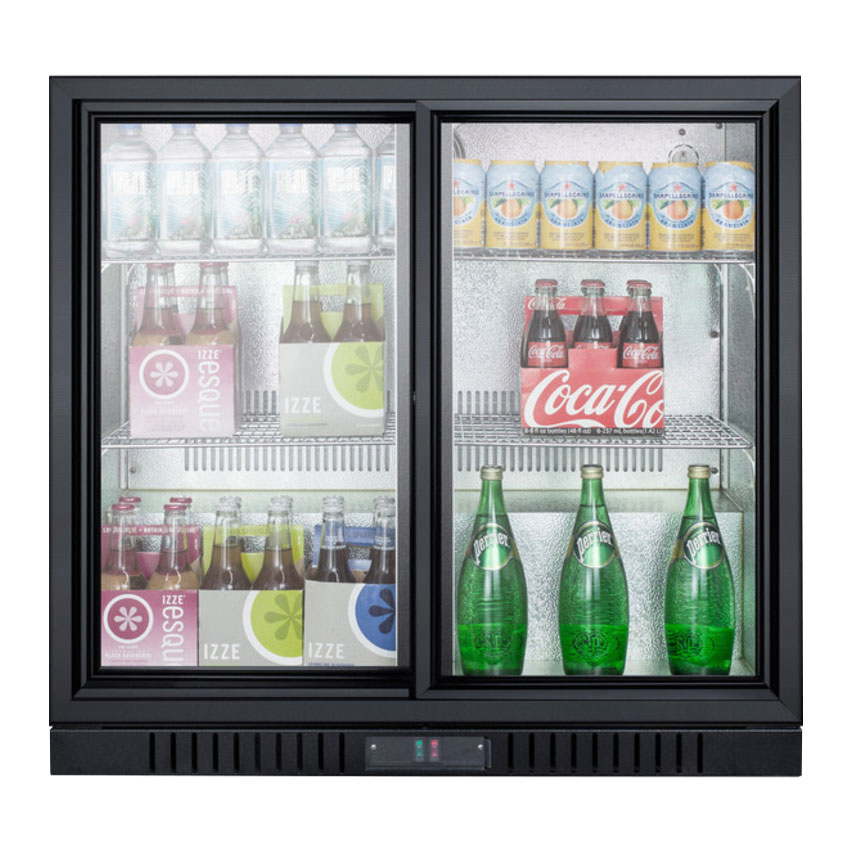 "Summit SCR700 36"" Countertop Refrigerator w/ Front Access - Sliding Door, Black, 115v"