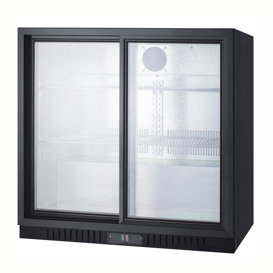 "Summit SCR700 36"" Countertop Refrigerator w/ Front Access - Sliding Door, Black, 115v"