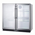 "Summit SCR7012DCSS 36"" (2) Section Bar Refrigerator - Swinging Glass Doors, 115v"