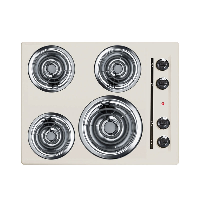 Summit Refrigeration SEL03 24-in Cooktop w/ 8-in Element & (3)6-in Coil Elements, Porcelain, 220/1V, Bisque