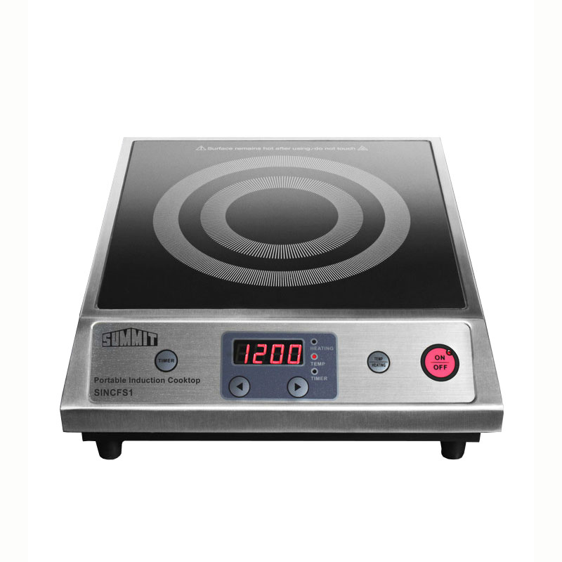 Summit Refrigeration SINCFS1 Portable Induction Cook Top w/ 1-Single, 10-Power Levels & Auto Pan Recognition, Black