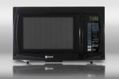 Summit Refrigeration SM1100B Microwave w/ Rotary Turntable, Touchpad & Digital Clock, Black, 1-cu ft