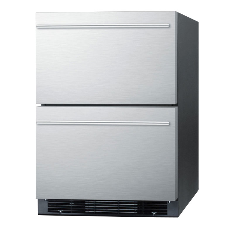 "Summit SPRF2D 24"" Drawer Refrigerator Freezer w/ Digital Thermostat & Interior Light"