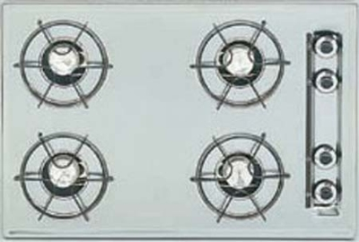 Summit Refrigeration STL033 24-in Cooktop w/ Electronic Ignition, Universal Valves & 4-Burners, Bisque
