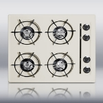 Summit Refrigeration STL03P 24-in Cooktop w/ 4-Open Burners, Battery Start Ignition & Recessed Top, Porcelain