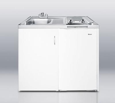 Summit Refrigeration C39AUTOGLASS 39-in Combo Kitchen - 2-Burners, Refrigerator, Freezer, Auto Defrost, 3.6-cu ft