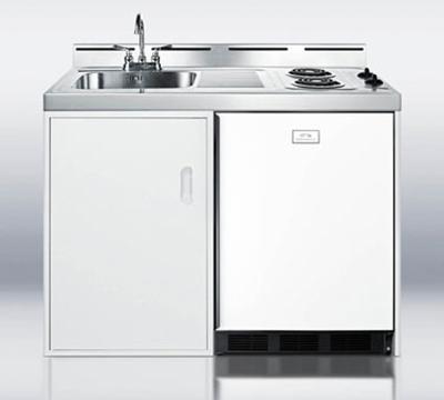 Summit Refrigeration C48EL 48-in Combo Kitchen w/ 2-Burners, Refrigerator, Freezer & Manual Defrost, 5.1-cu ft