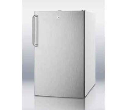 Summit Refrigeration CM411L7SSTBADA 20-in Freestanding Refrigerator Freezer w/ Front Lock, White/Stainless, 4.1-cu ft, ADA