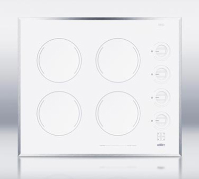 Summit CR424WH Cooktop w/ 4-Burners & Residual Heat Indicator Light, 22.13-inx18.63-in, 220/1V, White