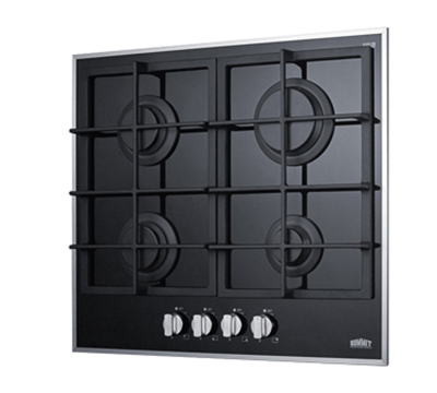 Summit Refrigeration GC424BGL Gas On Glass Cook Top w/ 4-Sealed Burner, Electronic Spark Ignition, 12.75x18.75-in, Black