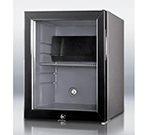 Summit Refrigeration MB25LGL Silent Hotel Minibar w/ 30-liter Capacity, Glass Door & Auto Defrost, Charcoal Grey