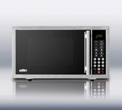Summit Refrigeration OTR24 Built In Microwave Oven w/ Touchpad Controls & Digital Clock, Mirror/Stainless, .9-cu ft
