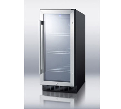 Summit SCR1536B Beverage Refrigerator - 1-Zone, Sealed Back, Auto Defrost, Black, 2.94-cu ft