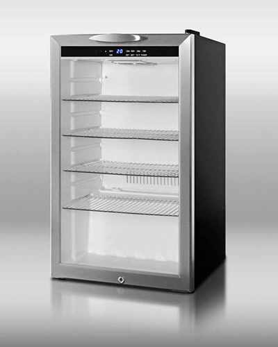 "Summit SCR485L 19"" Countertop Refrigerator w/ Front Access - Swing Door, Black, 115v"