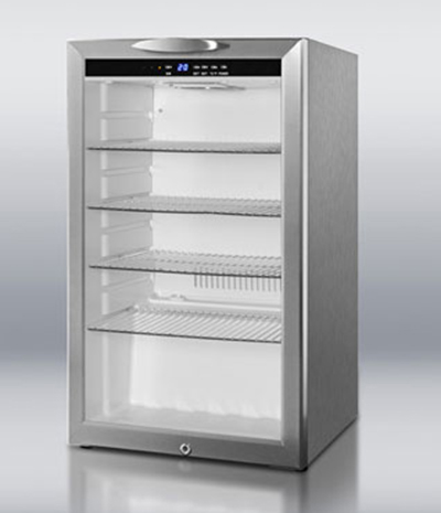 "Summit SCR485LCSS 19"" Countertop Refrigerator w/ Front Access - Swing Door, Stainless, 115v"