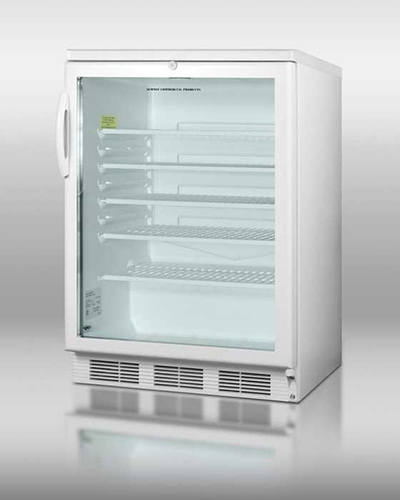 "Summit Refrigeration SCR600L 24"" Countertop Refrigerator w/ Front Access - Swing Door, White, 115v"