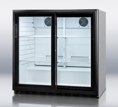 "Summit Refrigeration SCR700CSS 36"" Countertop Refrigeration w/ Front Access - Sliding Door, Stainless, 115v"